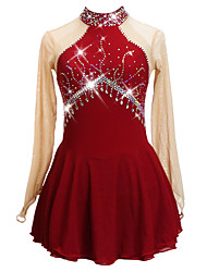 cheap -Figure Skating Dress Women's Girls' Ice Skating Dress Red Backless Asymmetric Hem Spandex High Elasticity Training Competition Skating Wear Patchwork Solid Color Crystal / Rhinestone Long Sleeve Ice