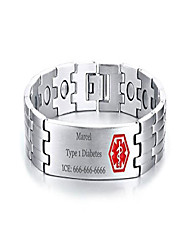 cheap -xuanpai free-engraving stainless steel magnet therapy health medical alert id bracelet for men,adjustable