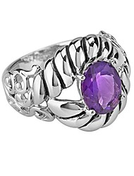 cheap -sterling silver purple amethyst gemstone rope and scroll ring size 8