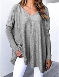 cheap -Women's Plus Size Tops Blouse Patchwork Plain Large Size V Neck Long Sleeve Big Size / Cotton