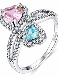 cheap -stylish ring with love heart shape shiny rhinestone proposal ring wedding engagement jewelry - blue + pink us 8