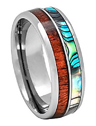 cheap -tungsten carbide hawaiian koa wood with abalone shell inlay 8mm comfort fit ring/wedding band (12)