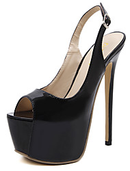 cheap -Women's Heels Stiletto Heel Peep Toe Daily Walking Shoes Patent Leather Buckle Solid Colored Black