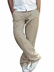 cheap -mens casual linen trousers lightweight Drawstring waist pants Straight breathable yoga gym summer pants dark khaki