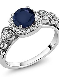 cheap -925 sterling silver blue sapphire women engagement ring 1.32 cttw, round gemstone birthstone (size 7)