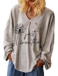 cheap -Women's Geometric Letter Women's Hoodies Long Sleeve Sweater Cardigans V Neck Fall Winter Gray