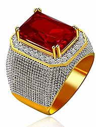 cheap -boy's emerald cut big red cubic zirconia rings wedding promise gold plated red cz anniversary ring birthday gifts idea for men boys or boyfriend husband(size 10) ra408
