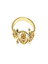 cheap -yellow gold-tone plated sterling silver antique filigree flower ring size 2