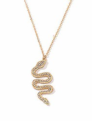 cheap -gold rhinestone snake pendant necklace.retro crystal cobra y-shaped necklace,punk viper animal serpent necklace for women jewelry (gold)
