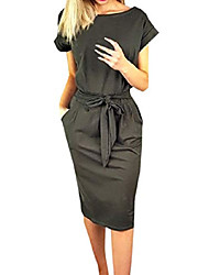 cheap -ladies leisure dress with belt elegant round neck midi dresses blouse dresses ball gown party dress women long sleeve pocket wrap dresses evening dresses party dress (3xl, dark gray 1)