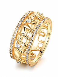 cheap -18k gold & 2-tone plated elephant cubic zirconia eternity ring (gold, 10)