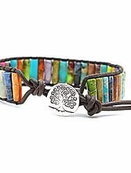 cheap -beaded wrap bracelet for women gemstone beads leather bracelet tree of life imperial jasper stone beads wrap bracelet (multi-color 2)