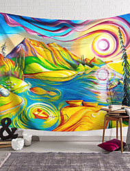 cheap -Oil Painting Style Wall Tapestry Art Decor Blanket Curtain Hanging Home Bedroom Living Room Decoration Polyester Landscape River Boat Mountain Cloud