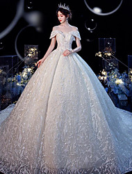 cheap -Princess Ball Gown Wedding Dresses Off Shoulder Chapel Train Lace Tulle Short Sleeve Formal Romantic Luxurious with Beading Appliques 2020