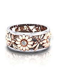 cheap -crystal sunflower daisy ring diamond rhinestone flower finger ring fashion jewelry for girls women, rose gold, 10#