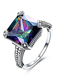 cheap -antique 925 sterling silver created rainbow topaz vintage bohemian big stone comfort fit celtic statement solitaire ring for women size 8