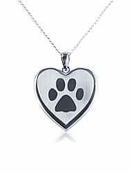 cheap -sterling silver dog paw design heart locket pendant, 20mm