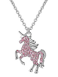 cheap -unicorn necklace for girls women 18k gold plated dainty unicorn necklaces with message card (pink)