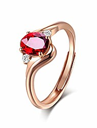 cheap -women red crystal ring 18k rose gold plated adjustable size 7-9 jewelry gift for girlfriend wife