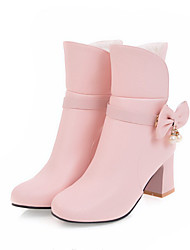 cheap -Girls' Boots Bootie Flower Girl Shoes Children's Day PU Big Kids(7years +) Daily Party & Evening Bowknot Pearl White Black Pink Fall Winter / Booties / Ankle Boots