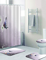 cheap -White Flower Butterfly Digital Printing Four-piece Set Shower Curtains And Hooks Modern Polyester Machine Made Waterproof Bathroom