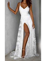 cheap -Women's Sheath Dress Maxi long Dress White Sleeveless Solid Color Backless Split Lace Fall Spring V Neck Elegant Sexy 2021 S M L XL