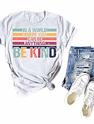 cheap -women's in a world where you can be anything be kind shirt women letter printed kindness blouse tops grey