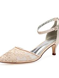 cheap -Women's Wedding Shoes High Heel Pointed Toe Wedding Party & Evening Satin Mesh Rhinestone Flower White Champagne Ivory
