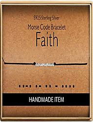 cheap -morse code faith bracelet 925 sterling silver handmade bead adjustable string bracelets inspirational jewelry for women