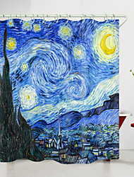 cheap -Van Gogh Starry Sky Town Digital Printing Shower Curtains with Hooks Modern Polyester New Design