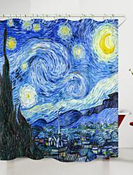 cheap -Van Gogh Starry Sky Town Digital Printing Shower Curtain Shower Curtains  Hooks Modern Polyester New Design