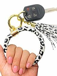 cheap -leather wristlet keychain bracelet bangle key ring bracelet for women girls gift (white leopard)
