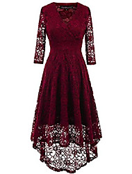 cheap -women vintage beautiful 50's retro floral lace fabric swing dress with 3/4 long sleeve deep v neck high waist high-low hip lace party cocktail midi dress burgundy