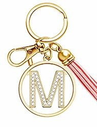 cheap -letter keychain with tassel for women purse wallet handbags charms crystal alphabet letter pendant key ring(m)
