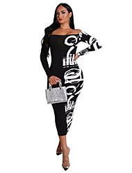 cheap -Women's Plus Size Print Patchwork Sexy Off Shoulder Long Sleeve Spring &  Fall Midi Dress Sheath Dress