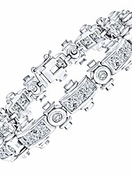 "cheap -men's elegant sterling silver .925 bracelet with channel-set simulated diamond princess-cut cubic zirconia (cz) stones, secure box lock, platinum plated. available in sizes 8"" 9"""