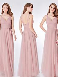 cheap -Sheath / Column V Neck Floor Length Tulle Bridesmaid Dress with Ruching
