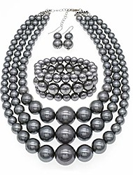cheap -jnf large pearl necklace multi layer pearl strand costume jewelry pearl statement necklace bracelet and earrings for women (grey)