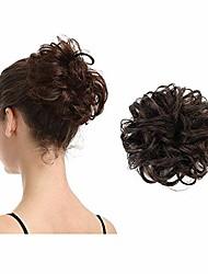 cheap -scrunchies curly messy hair bun extensions wedding hair pieces for women kids hair updo donut chignons (2# dark brown)