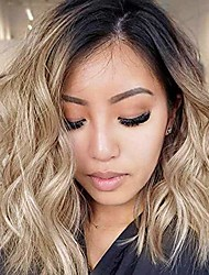 cheap -short bob blonde wavy wigs ombre black blonde wigs with middle part heat resistant synthetic wigs for women