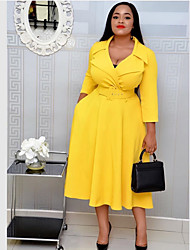 cheap -Women's Plus Size Dresses Swing Dress Midi Dress Long Sleeve Solid Color Lace up V Neck Work Spring &  Fall / Shirt Collar / Slim