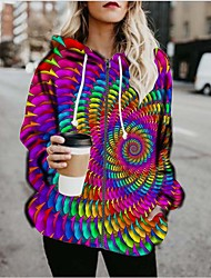 cheap -Women's Pullover Hoodie Sweatshirt Graphic 3D Print Daily Going out 3D Print Basic Hoodies Sweatshirts  Rainbow