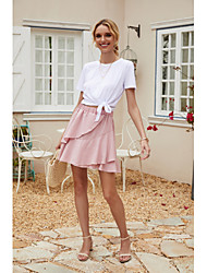 cheap -Women's Casual / Daily Work Sexy Streetwear Skirts Solid Colored Layered Pleated Ruffle Blushing Pink