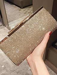 cheap -Women's Girls' Bags Alloy Evening Bag Glitter Crystals Solid Color Glitter Shine Wedding Going out Wedding Bags Handbags Chain Bag Gold Silver