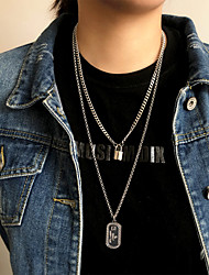 cheap -Women's Men's Pendant Necklace Chain Necklace Drop Vertical / Gold bar Joy Blessed Faith Angel Fashion Vintage Punk Trendy Stainless Steel Titanium Steel Silver 67 cm Necklace Jewelry 2pcs For Party