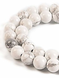 """cheap -natural gemstone round spacer loose beads for jewelry making 15.5"""" 1 strand 6mm 8mm (white howlite, 8mm 45beads)"""