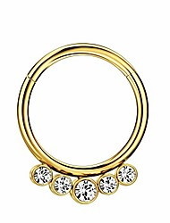 cheap -316l surgical steel nose rings 16 gauge gold nose ring hoop earrings for women 5 crystals septum jewelry 10mm septum ring seamless septum clicker 10mm cartilage earring hoop