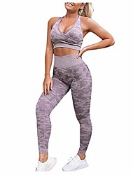 cheap -handyulong women's floral prined 2 pieces workout sets seamless high waisted yoga leggings with sports bra tracksuits