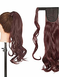 cheap -22inch long curly wrap around ponytail extensions clip in ponytail hair extensions hairpiece for women for daily use wine red
