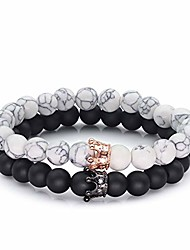 cheap -his/hers stretch couple black matte agate & white howlite cz rose gold crown queen 8mm beads bracelet